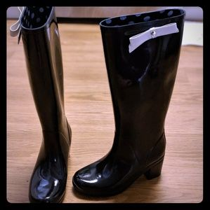 "Kate Spade black rain boots size 5 with 1.5"" heel"